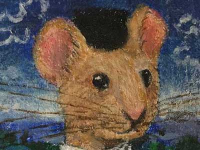 "close up of ""Mouse holding a roman coin"""